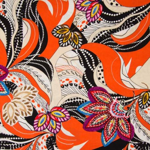 Šatovka oranžová, barevný vzor, š.140