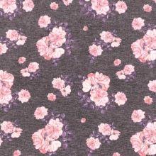 Úplet N5395 fialový, ružové ruže a fialové lístky, š.145