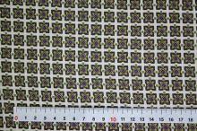 Úplet krémový, zelenofialový štvorce, š.145
