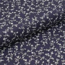Bavlněné plátno tmavě modré, bílé větvičky, š.140