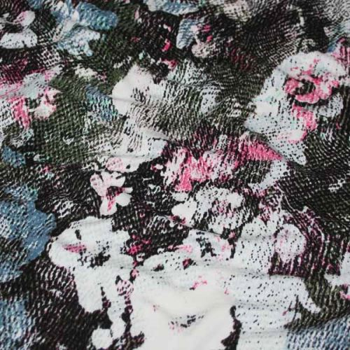 Úplet khaki, ružovo-modrý kvet 15934, š.150