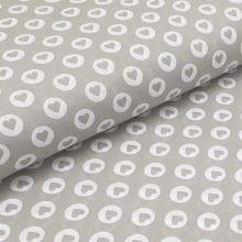 Bavlnené plátno šedé, srdiečko v bielej bodke, š.140