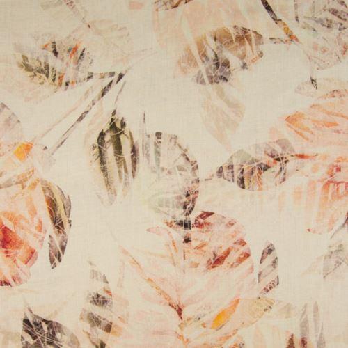 Len krémový, oranžové listy, š.135