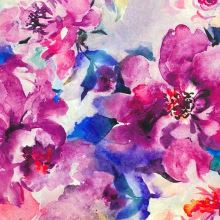 Šatovka N5503 SILKY, velké barevné květy, š.145