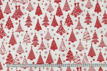 Bavlněné plátno bílé, červený vánoční stromeček, š.160