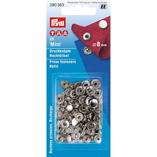 Druky Prym Mini 390363 stříbrné, cvoček 8 mm, 20ks
