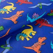 Bavlněné plátno modré, dinosauři, š.145