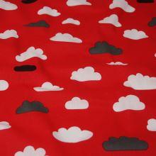 Bavlna červená, mraky , š.140
