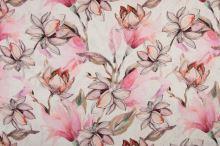 Len bílý, růžové magnóliové květy, š.135