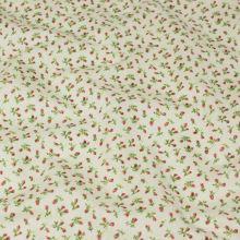 Bavlněné plátno krémové, růžová poupata, š.140