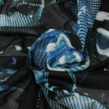 Elastický tyl černý, modrý vzor s čísly, š.145