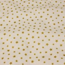 Bavlněné vánoční plátno, zlaté hvězdy, š.145