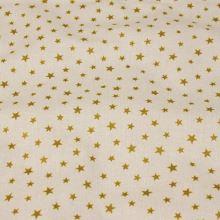 Bavlnené vianočné plátno, zlaté hviezdy, š.145