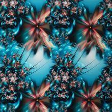 Úplet modrý, kvety a bubliny, š.175