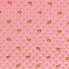 Minky s 3D bodky ružové, korunky, š.140