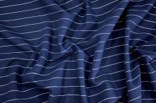 Kostýmovka tmavo modrá, biely pruh, š.150