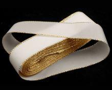 Stuha taftová biela + zlatý okraj, šírka 25mm, 10m