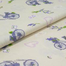 Bavlněné plátno béžové, lila bicykl, š.140