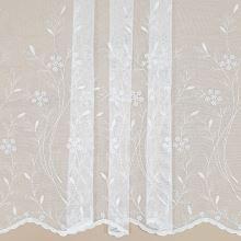 Záclona biela s kvetinovou výšivkou, v.145cm