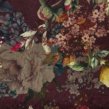 Samet vínový, barevný květ, š.140