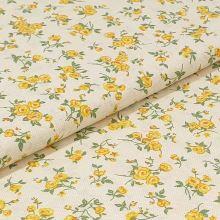 Bavlněné plátno, drobné žluté kytky, š.140