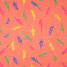 Úplet oranžový, melanž, barevná pírka, š.155