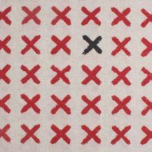 Dekorační látka režná, červené a černé X, š.140