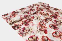Úplet krémový, béžovo-růžové květy, š.160