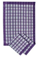 Utěrky z egyptské bavlny, tradiční fialové káro, 50x70cm, 3ks