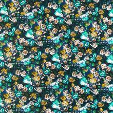 Úplet modrý 20271, farebný kvetinový vzor, š.150