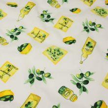 Bavlněné plátno bílé, olivový olej, š.140