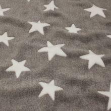 Fleece šedý, biele hviezdy, š.145