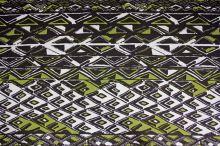 Úplet hnědobílý, zelený vzor, š.150