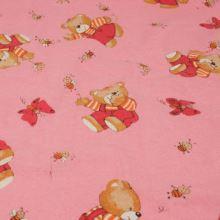 Flanel růžový, medvídek, š.160