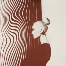 Úplet krémový, hnědý profil ženy, š.145