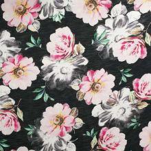 Úplet čierny, ružovo-biele kvety, š.160