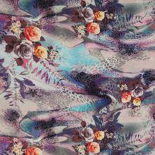 Satén fialovo-modrý, vzor 3 ruže, š.145