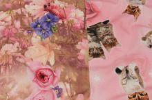 Úplet růžový, kočky a květiny, š.155