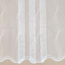 Záclona bílá, svislé vyšívané vlnky, v.150cm