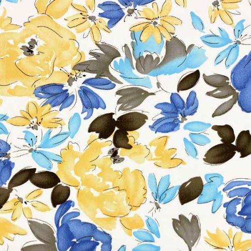 Šatovka N0473 biela, žlto-modré kvety, š.150