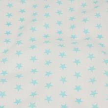 Bavlněné plátno bílé, tyrkysové hvězdičky, š.140