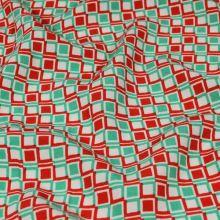 Šatovka biela, zeleno-červenej kocky, š.140