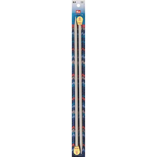Rovné pletací jehlice Prym 40cm, velikost 8,0