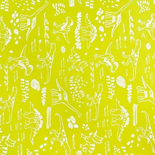 Softshell neonově žlutý, reflexní vzor dinosaurů, š.145
