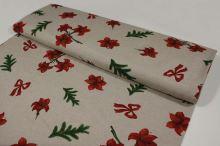 Vánoční látka béžová, červené květy, š.140