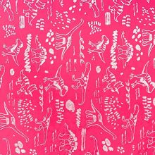 Softshell neónovo ružový, reflexné dinosaury, š.145