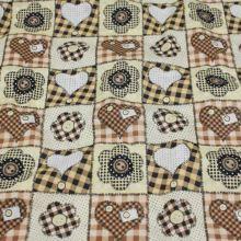 Bavlna srdíčka a květy, béžovo-hnědý vzor š.140