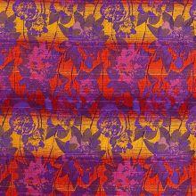 Žakárová šatovka fialová, farebné pruhy a kvety, š.135