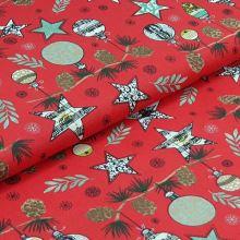 Bavlněné plátno červené, vánoční ozdoby, š.140