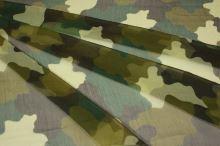 Hedvábný šifon, vzor army, š.140
